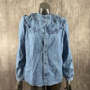 APC Size 38 Small Denim Ruffle Button Down Top